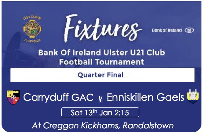 U21 Male Footblallers in Ulster Qtr Final !