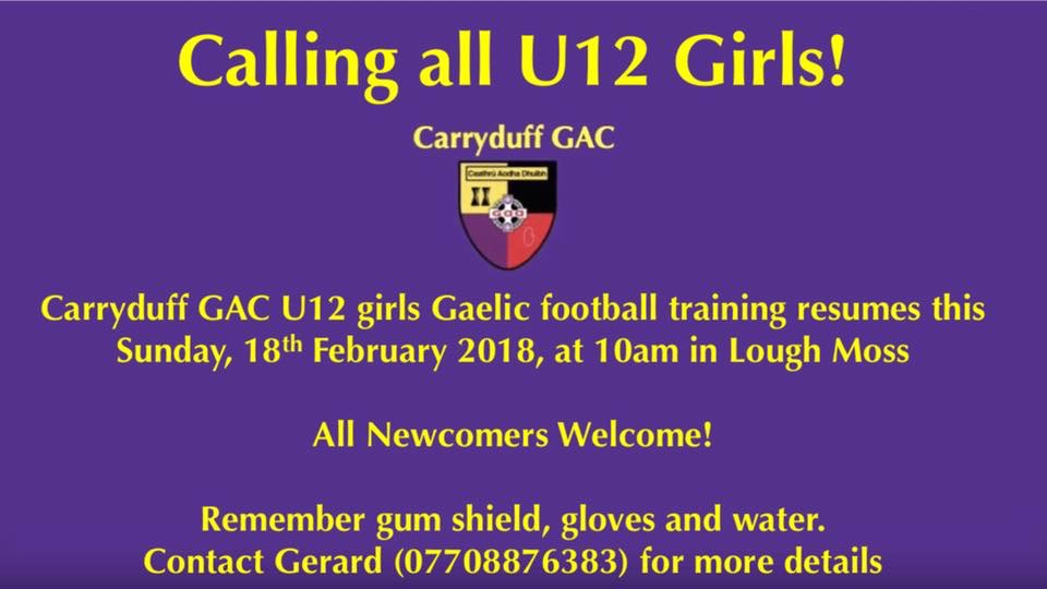 U12 Girls training resumes