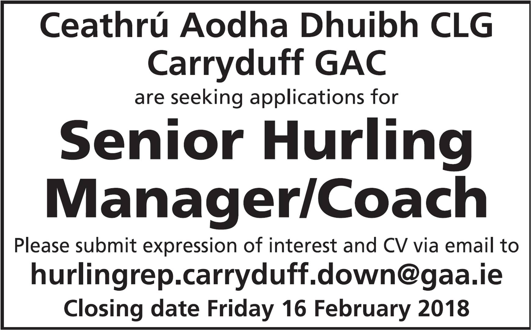 Senior Hurling Manager required