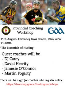 Provincial Hurling Coaching Workshop