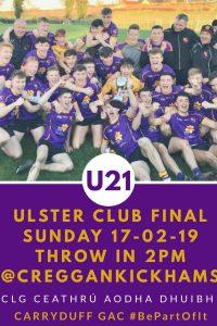 U21 Ulster Final travelling arrangements